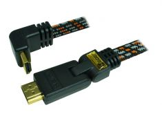 Câble HDMI 1.4 - 5M - plat tissé - plaqué OR