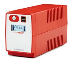 SALICRU Onduleur SPS 650 SOHO + Line-interactive 650VA 2USB 2prises Shuko/FR Protection surcharge avec charge APFC 647CA000002