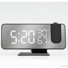 Radio réveil grand affichage avec projecteur, écran effet miroir port USB pour la charge prise secteur inclus, noir