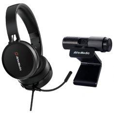 AVERMEDIA Pack Tele Travail Webcam USB FHD PW313 + Micro Casque Visioconférence AH313 USB BO317