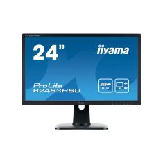 Moniteur IIYAMA 24'' LED 16:9 1ms 1920x1080 VGA HDMI DisplayPort HPs 13cm pied régl en haut, Pivot HDMI inclus Noir / B2483HSU-B5