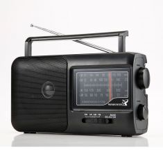 Radio grandes ondes AM/FM/SW1/SW2 Prise casque prise secteur ou pile (non incluse) noir