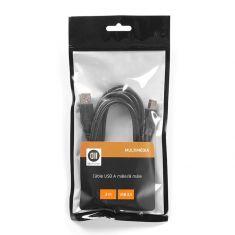 Câble USB 2.0 A mâle/mâle 1.80m câble noir vendu en SACHET