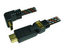 Câble HDMI 1.4 - 2M - plat tissé - plaqué OR