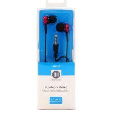 ***Ecouteurs Intra Jack 3.5mm stéré Rouge + 2 paires de caps - 1.20 m Fiches Or D2 Diffusion