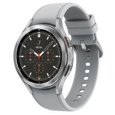 SAMSUNG Galaxy Watch4 Classic 46M Bluetooth Silver Acier Bracelet silicone OS Google Electro cardiogramme et pression sanguine Design urbain SM-R890NZSAXEF