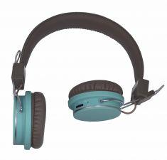 Casque micro Double H - Bluetooth - Carte MiniSD - Marron / Bleu