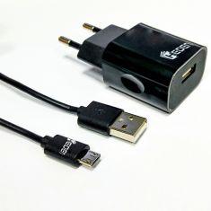 Bundle Chargeur + câble micro USB Chargeur secteur 2.4A + câble 1m noir
