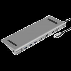 HUB USB-C HEDEN 10 PORTS HDMI 4K/60HZ, RJ45 1000Mpbs, VGA 3 X USB3.0, USB-C charge 100W lec micro SD/SD, Jack 3.5
