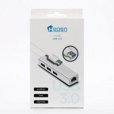 HUB USB3.0 HEDEN 3 ports USB + RJ45 1000Mbps Plug&Play en alu argenté
